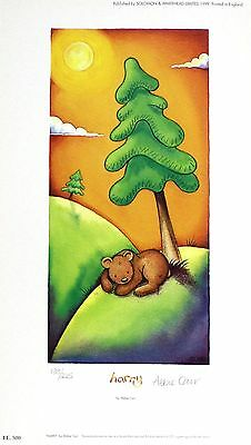"ABBIE CARR ""Harry"" brown bear tree SIGNED LIMITED ED! SIZE:34cm x 19cm NEW RARE"