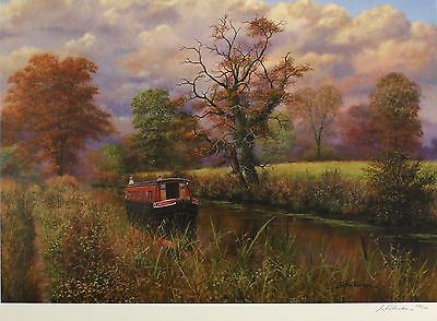 "BILL MAKINSON ""Calm and Serene"" longboat canal SIGNED! SIZE:50cm x 66cm NEW RARE"