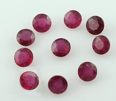 Ruby 14 Ct Round Genuine Amazing F/s 6.5 Mm Wholesale Lot Of 10 Piece Gemstone