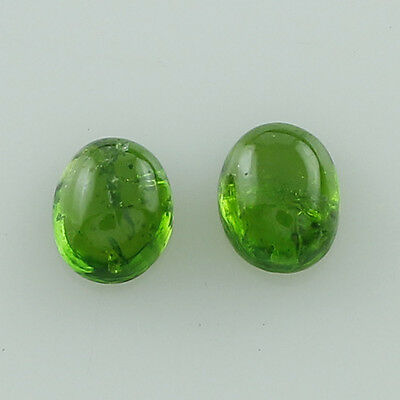 Chrome Diopside 0.99 Ct. 4X5 Mm Pair Of Green Oval Shape Cabochon Cut Gemstone