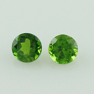 Chrome Diopside 0.57 Ct. 4 Mm Pair Of Green Round Shape Faceted Cut Gemstone