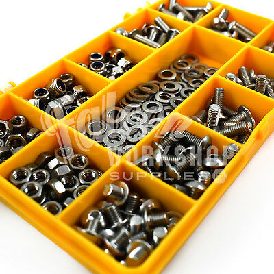 300 Assorted Piece M5 Socket Button Head Bolt With Nuts Washers A2 Stainless Kit