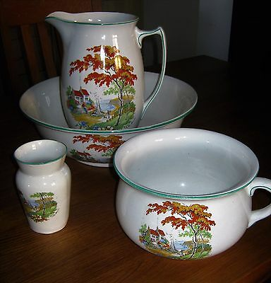 """Antique Wash Bowl, Pitcher, Chamber Pot, And Brush Pot, """"the Haven"""" Decoration"""