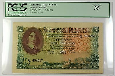 1954-59 7.3.1957 South Africa 5 Pounds Bank Note SCWPM# 97c PCGS VF-35 (B)