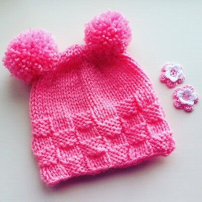 Girls twin pompom hat . Size 9 to 24 months.