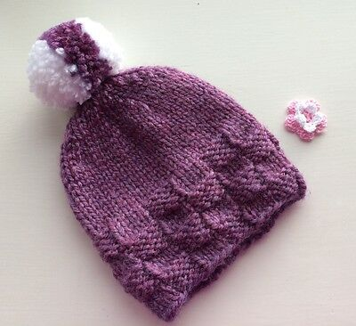 Baby girls pompom hat size 9 to 24 months