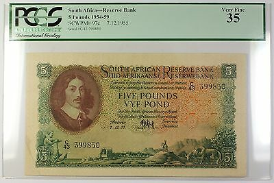 1954-59 7.12.1955 South Africa 5 Pounds Bank Note SCWPM# 97c PCGS VF-35 (D)
