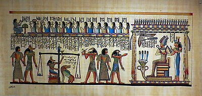 "Egyptian Papyrus  HandMade Painting size 40x100cm 16""x40""Judgement Day US #244"