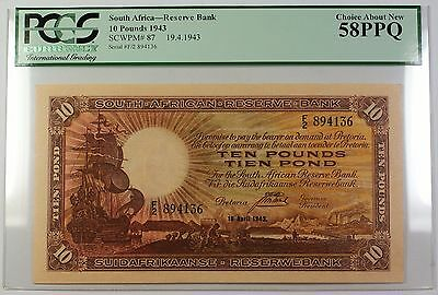 1943 19.4.1943 South Africa 10 Pounds Bank Note SCWPM# 87 PCGS Choice 58 PPQ
