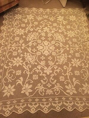 Antique Hand Crochet Lace Table Cloth 8ft By 6 Ft!,one of a pair