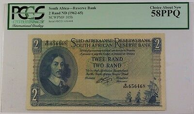 (1962-65) South Africa 2 Rand ND Reserve Bank Note SCWPM# 105b PCGS AU-58 PPQ A