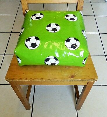 Kids Child Chair Booster Cushion. Zipped refillable. With Ties. Green Football.