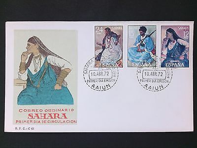 SAHARA ESPANOL FDC 1972 TRACHTEN COSTUME FIRST DAY COVER d2800
