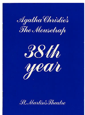 """Agatha Christie's """"the Mousetrap"""" 38Th Year Theatreprint1990 Excellent"""