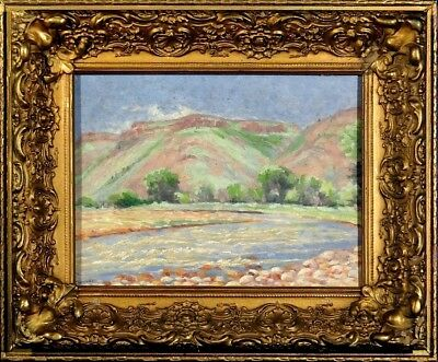 Stunning ca.1924 Mountainous River Landscape Painting Oil/Canvas w/Frame Signed