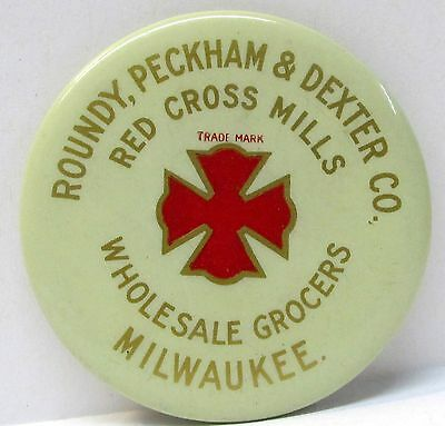 c. 1910 RED CROSS MILLS Roundy Peckham & Dexter MILWAUKEE Wisc. pocket mirror *