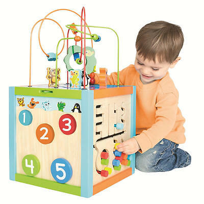 Wooden Multi-Activity Cube, Kids Toy Wood Play Set
