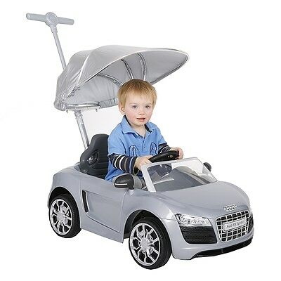 Audi Push Buggy With Canopy - Silver, Kids Ride On Car
