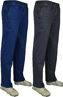 New Mens Elasticated Waist Denim Rugby Trousers Lightweight Casual Jeans Cotton