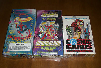 3 Unopened Non Sport Card Boxes Youngblood  Dc Cosmic  Spiderman