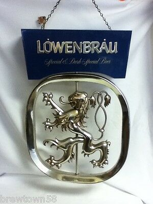 Lowenbrau beer sign vintage bar motion spinning rotating lion hanging display e9