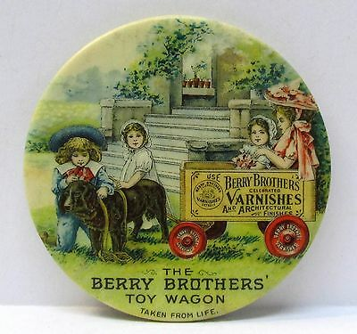 circa 1900 BERRY BROTHERS TOY WAGON Paint & Varnish celluloid pocket mirror *