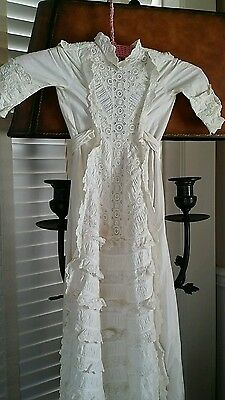 "42"" Antique Baby Christening Baptismal Gown Broderie Anglaise White work vintage"