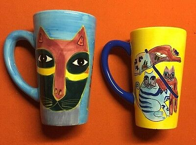 Set Of 2 Laurel Burch 1997 Tall Brightly Colored Cat Mugs MAKE OFFER