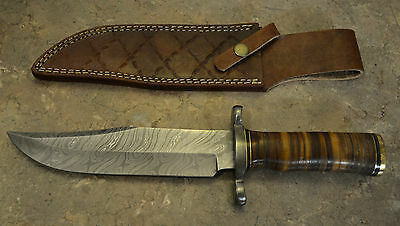 Custom Made Damascus Steel Hunting Bowie with Genuine Leather Handle U 106