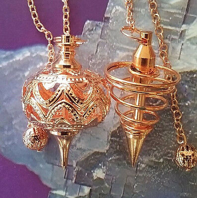 2 Large Unusual Copper Vortex And Filigree Pendulums With Chains And Pouches