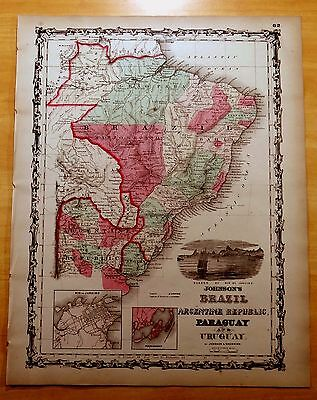 Antique Map ORIGINAL 1860 BRAZIL Argentina URUGUAY Paraguay Hand-Colored 14 x 18