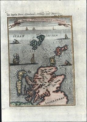 Scotland UK Shetland Orknay Hebrides ships 1719 charming antique engraved map