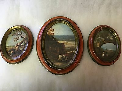Vintage Oval Framed Pictures by Action Cheswick PA, Made in Italy