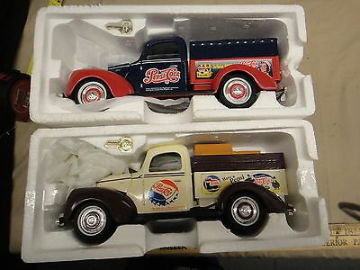 2 Pepsi Cola pickup trucks diecast banks, new with keys