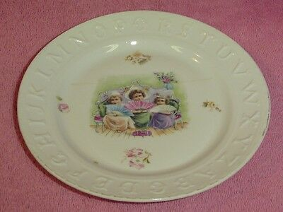 Vintage Ceramic Alphabet Girls Child's Plate