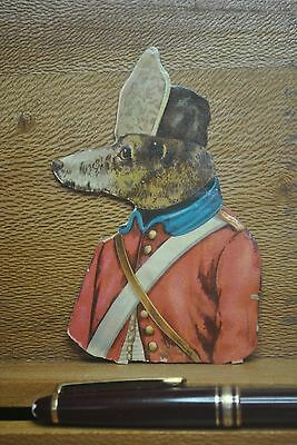 Victorian Die Cut Dressed Dog In Red Military Uniform