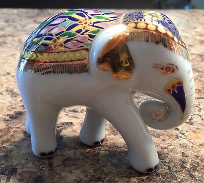 White Elephant Figurine Highly Decorated Gold Painted Colorful Blue Green Pink