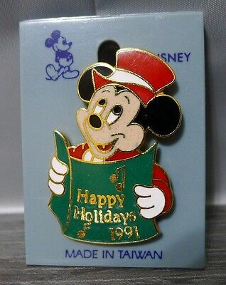 Mickey Mouse Enamel Lapel Pin Happy Holidays 1991 Red Outfit Christmas Carolling