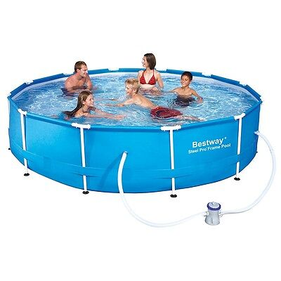 SZ 12ft Frame Pool with Filter Pump, Heavy Duty Garden Family Swimming Pool