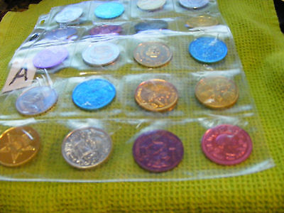 Lot of 20 Genuine New Orleans Mardi Gras Doubloons,years 1968, 70s,80s,etc.(A)