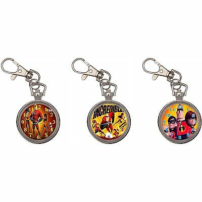Incredibles Silver Key Ring Chain Pocket Watch