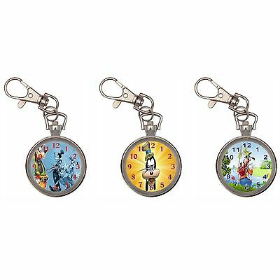Goofy Silver Key Ring Chain Pocket Watch