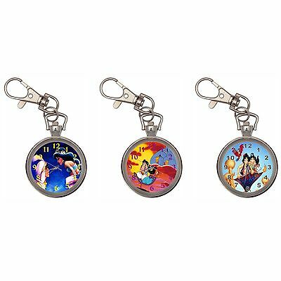 Aladdin Silver Key Ring Chain Pocket Watch