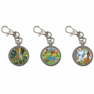 Bambi Silver Key Ring Chain Pocket Watch