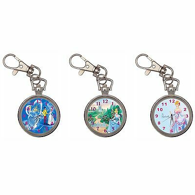 Cinderella Silver Key Ring Chain Pocket Watch