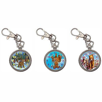 Brother Bear Silver Key Ring Chain Pocket Watch