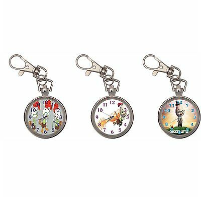 Chicken Little Silver Key Ring Chain Pocket Watch