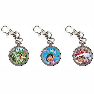 Dora The Explorer Silver Key Ring Chain Pocket Watch
