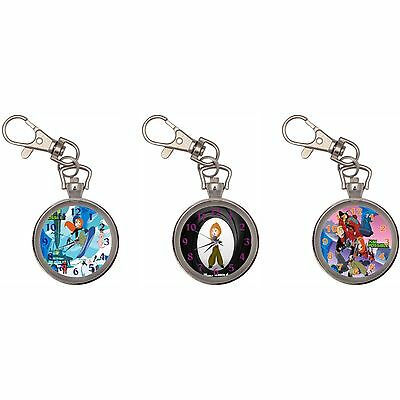 Kim Possible Silver Key Ring Chain Pocket Watch