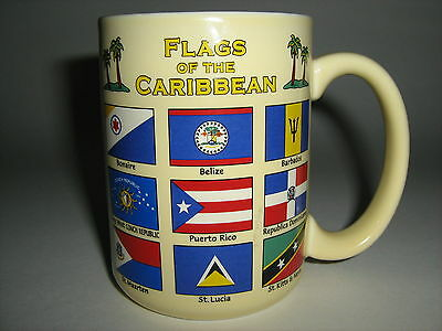"""Mellow Yellow """"flags Of The Caribbean Islands"""" West Indies Antilles Coffee Mug"""